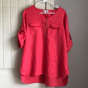 Coral Linen Tunic